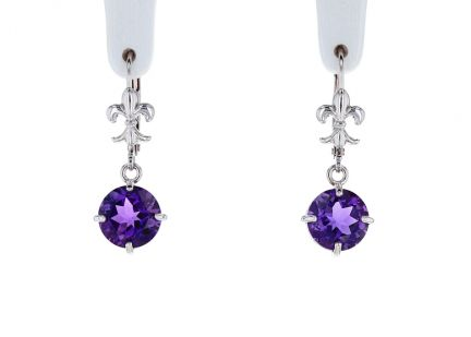 14K White Gold Round Amethyst Scroll Dangle Earrings