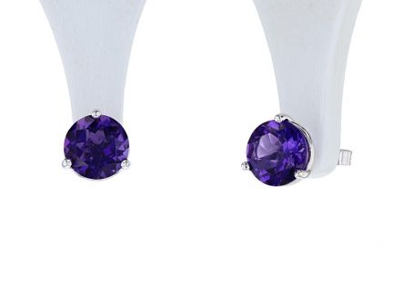 14K White Gold Round Amethyst Martini Stud Earrings