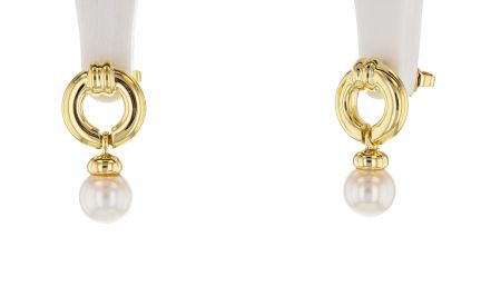 18k Yellow Gold Tiffany & Co. Door Knocker Pearl Earrings