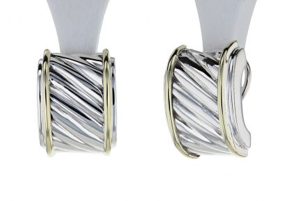David Yurman Sterling Silver & 14K Yellow Gold Earrings