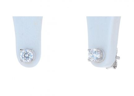 Sterling Silver White Cubic Zirconia 4-Prong Basket Stud Earrings