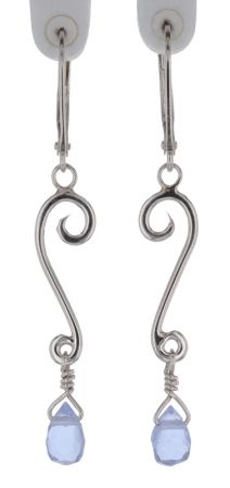 Spiral Moons Studio Baby Blue Quartz Briolette Scroll Earrings in Sterling Silver
