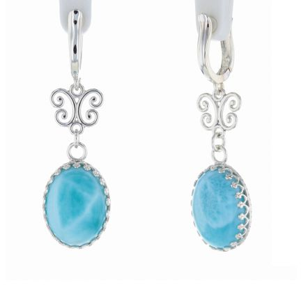 Sterling Silver Larimar Cabochon & Scroll Hinged Hoop Earrings