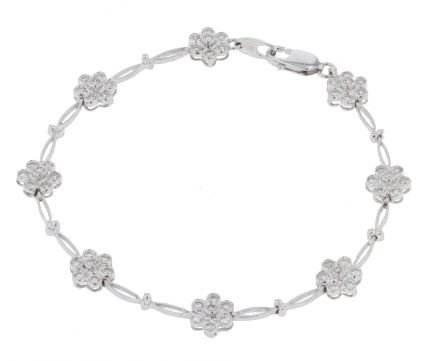 14k White Gold Diamond Cluster Bracelet