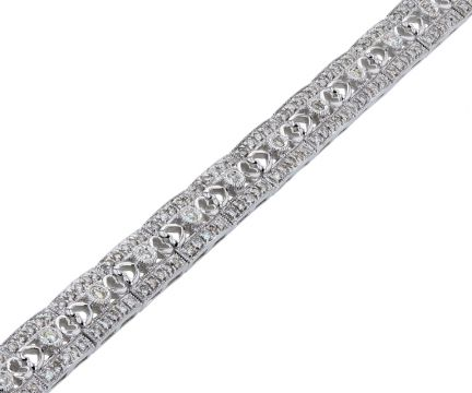 14k White Gold Diamond Filigree Bracelet