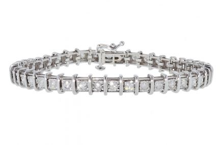 14k White Gold Miracle Set Diamond Tennis Bracelet
