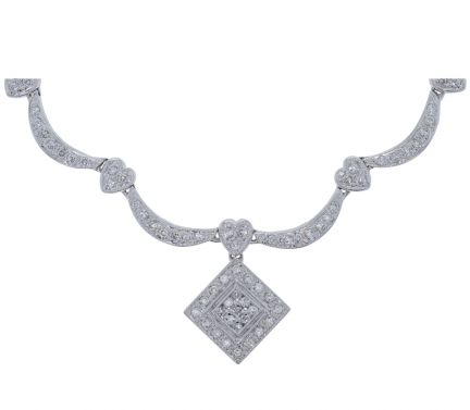 14k White Gold Square Design Diamond Drop & Diamond Link Necklace