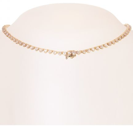 14k Yellow Gold Graduated Diamond Tennis Necklace