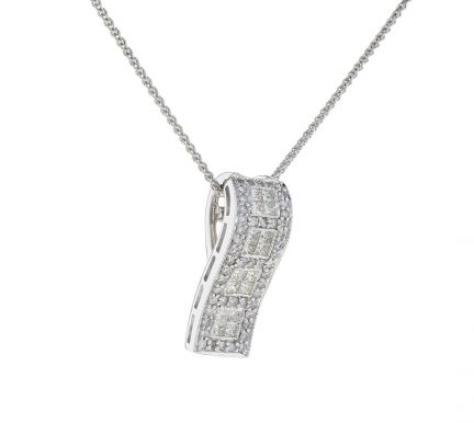 14K White Gold Ribbon Style Diamond Slide Pendant