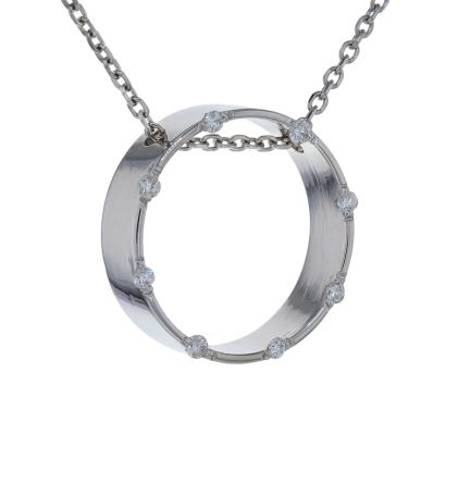 14k White Gold Diamond Circle Pendant w/ Diamond Cut Cable Chain