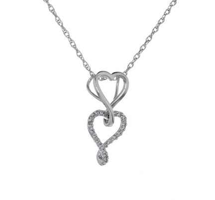 14kw Double Heart Diamond Slide Pendant & Chain