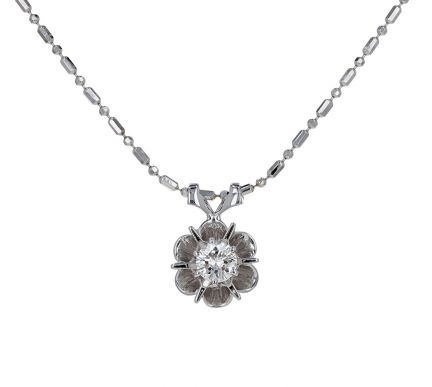 14K White Gold Diamond Solitaire Buttercup Pendant Necklace
