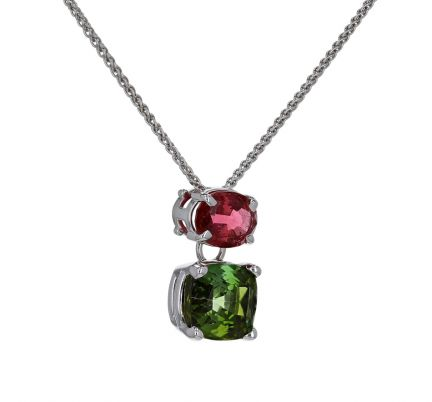 14K White Gold Green & Pink Tourmaline Slide Pendant