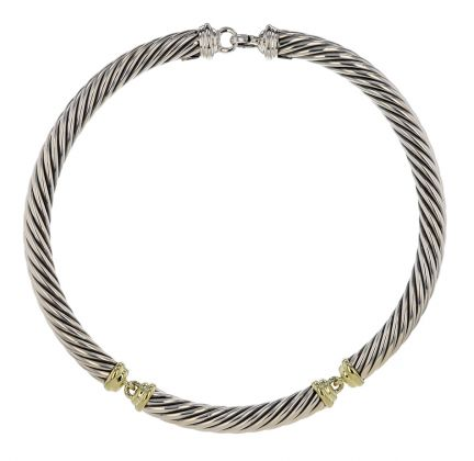 David Yurman .925 Silver & 14kt Gold Cable Choker Necklace