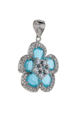 Sterling Silver Baby Blue & White Cubic Zirconia Flower Pendant