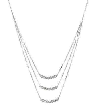 Sterling Silver White Cubic Zirconia Bezel Set Triple Bar Necklace