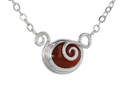 Spiral Moons Studio Carnelian Cabochon Necklace in Sterling Silver