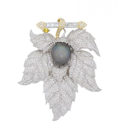 18k White Gold Tahitian Pearl & Diamond Leaf Motif Brooch