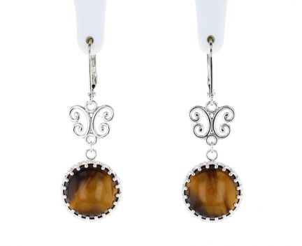 Sterling Silver Tigers Eye & Scroll Hinged Hoop Earrings