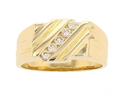 14K Yellow Gold Diamond Gents Ring