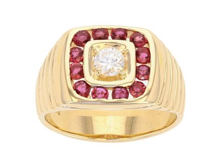 14K Yellow Gold Diamond and Ruby Gents Ring