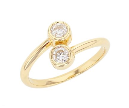 Kristopher Mark Two Stone Diamond Bezel Ring