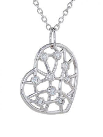 Kristopher Mark Diamond Lattice Heart Necklace
