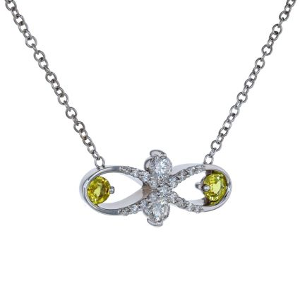 Kristopher Mark Yellow Sapphire & Diamond Infinity Necklace