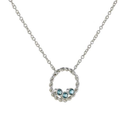 Kristopher Mark Simulated Blue Zircon Circle Necklace
