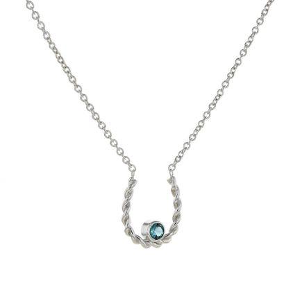 Kristopher Mark Simulated Blue Zircon Horseshoe Necklace