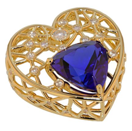 Kristopher Mark Custom 27.40 Carat Trillion Tanzanite & Diamond Heart Slide