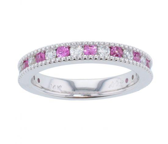 Kristopher Mark Pink Sapphire & Diamond Milgrain Channel Band