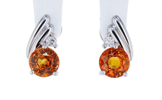 Kristopher Mark Orange Sapphire & Diamond Earrings
