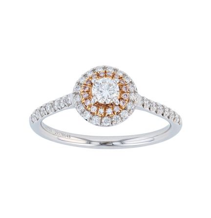 Platinum & 18K Tiffany & Co. Double Halo Diamond Ring