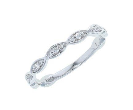 14K White Gold 1/5ctw Diamond Infinity-Inspired Anniversary Band