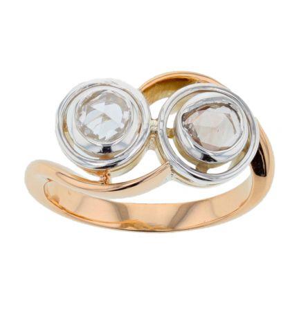 14k Two-Tone Rose Cut Diamond Ring