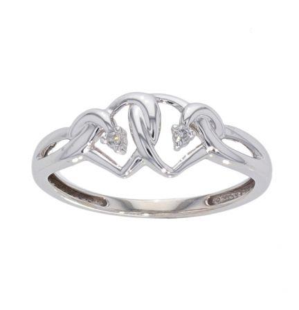 10k White Gold Interlocking Hearts & Diamond Ring