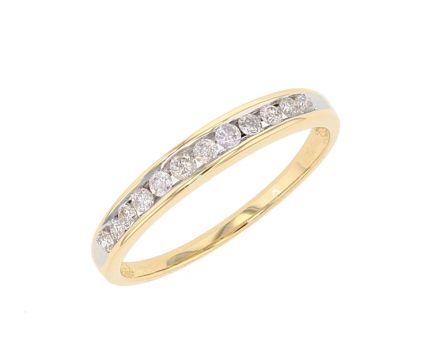 14K Yellow Gold Channel Set Diamond Band