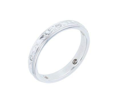 14K White Gold Engraved Diamond Band