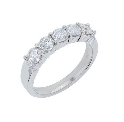 14k White Gold 5 Stone Shared Prong Diamond Band