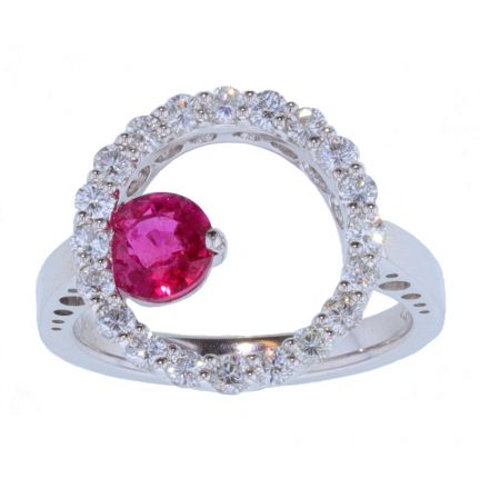 Kristopher Mark Ruby & Diamond Circle Motif Ring