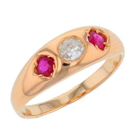 14k Yellow Gold Diamond & Ruby Ring