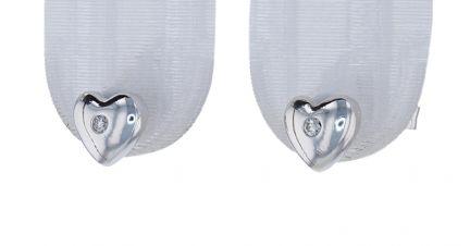 18k White Gold Burnish Set Diamond Heart Stud Earrings