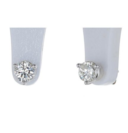 14k White Gold Round Brilliant Diamond Martini Style Three Prong Stud Earrings