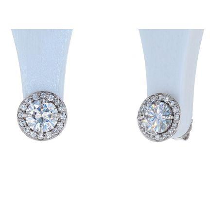 14K White Gold 5mm Round Forever One Moissanite & Diamond Halo Earrings