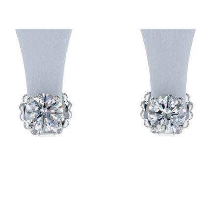 14k White Gold Diamond 4-Prong Basket Style Stud Earrings