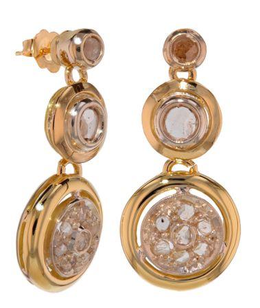 14k Two-Tone Antique Rose Cut Diamond Earrings