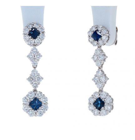 18k White Gold Diamond & Sapphire Dangle Earrings