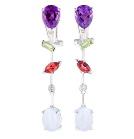 18k White Gold Amethyst & Chalcedony Multi Gemstone Dangle Earrings