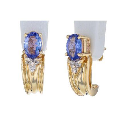 14k Yellow Gold Tanzanite & Diamond Earrings